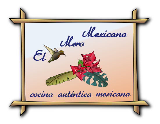 "Logo of ""El Mero Mexicano"" (""The True Mexican""), with subtitle: ""cocina auténtica mexicana"" - ""Authentic Mexican Cuisine"""